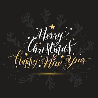 Prettige kerst en gelukkig nieuwjaar kerstkaart van de hand getekende letters