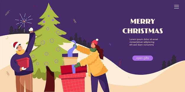 Prettige kerstdagen en een gelukkig nieuwjaar banner flyer bestemmingspagina met mensen die een spar versieren