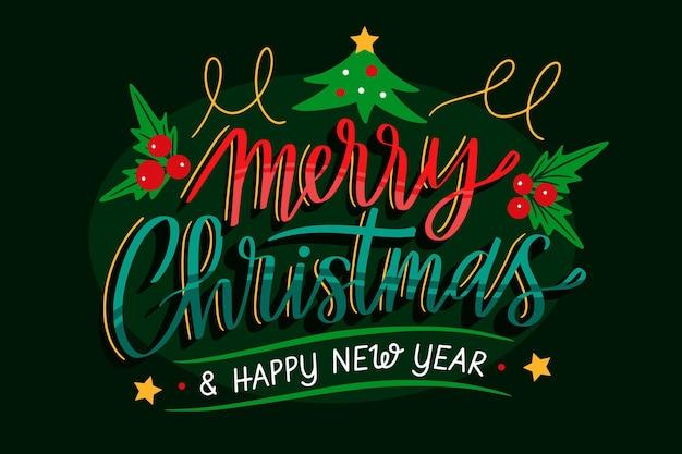 Prettige kerstdagen en een gelukkig nieuwjaar belettering achtergrond