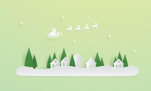 Prettige kerstdagen en een gelukkig nieuwjaar, de kerstman komt naar de stad