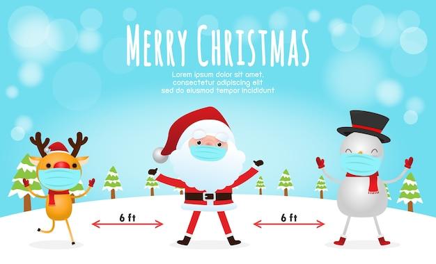 Prettige kerstdagen en een gelukkig nieuwjaar voor nieuw normaal met sociale afstand