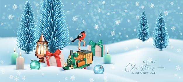 Prettige kerstdagen en een gelukkig nieuwjaar winterlandschap