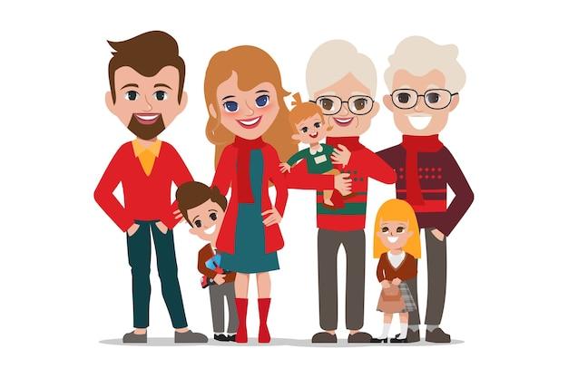 Prettige kerstdagen en een gelukkig nieuwjaarsfeest met een grote familie.