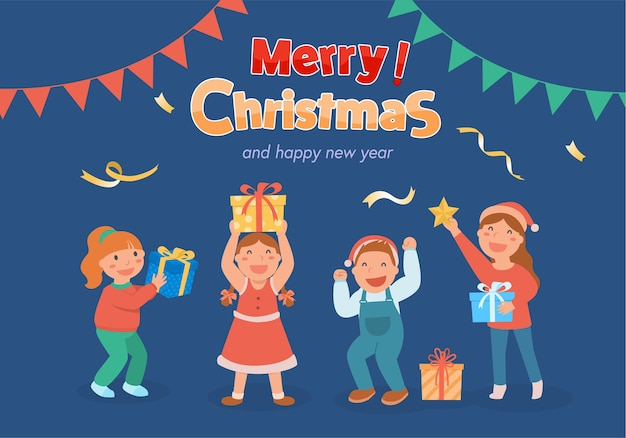 Prettige kerstdagen en een gelukkig nieuwjaarsfeest voor kinderen.