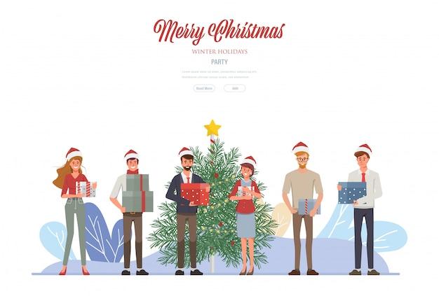 Prettige kerstdagen en een gelukkig nieuwjaarsfeest web landing page.