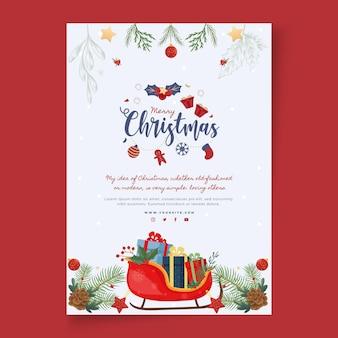 Prettige kerstdagen en fijne feestdagen poster sjabloon