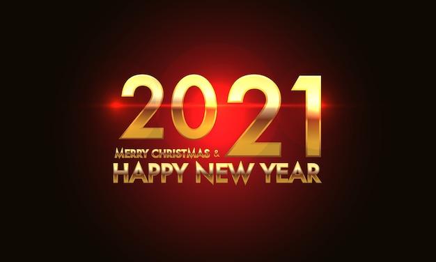 Prettige kerstdagen en gelukkig nieuwjaar 2021 gouden nummer en tekst op rood lichteffect zwarte achtergrond.