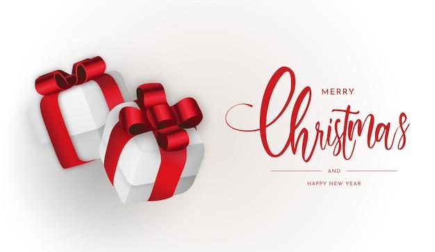 Prettige kerstdagen en gelukkig nieuwjaar 2022 achtergrond met 3d-cadeau bo
