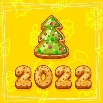 Prettige kerstdagen en gelukkig nieuwjaar 2022, kerstboomkoekjes