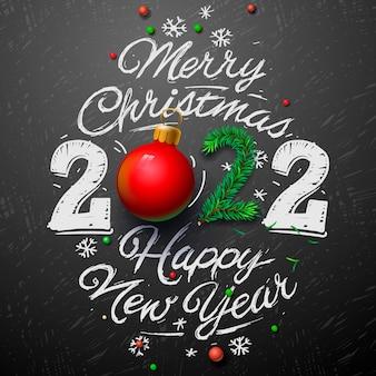 Prettige kerstdagen en gelukkig nieuwjaar 2022 wenskaart vectorillustratie