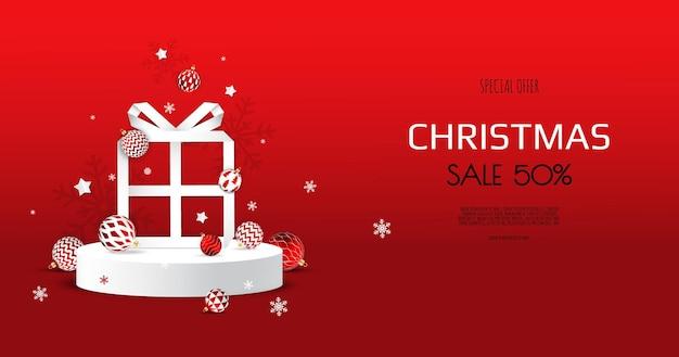Prettige kerstdagen en gelukkig nieuwjaar. abstract minimaal ontwerp, geschenkdoos. winter vakantie achtergrond.
