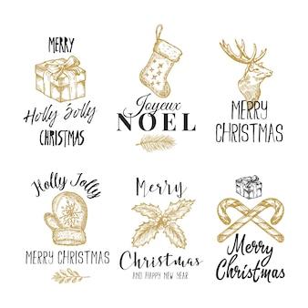 Prettige kerstdagen en gelukkig nieuwjaar abstracte tekens, etiketten of logo sjablonen set