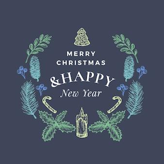 Prettige kerstdagen en gelukkig nieuwjaar abstracte wenskaart of banner met kerstkrans en retro typografie