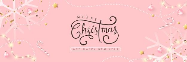 Prettige kerstdagen en gelukkig nieuwjaar achtergrond banner.
