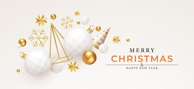 Prettige kerstdagen en gelukkig nieuwjaar achtergrond. goud en wit 3d objecten vakantie samenstelling. kerstboom, kerstversiering, sneeuwvlokken en sterren. vector illustratie