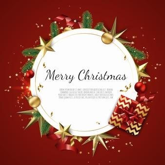 Prettige kerstdagen en gelukkig nieuwjaar achtergrond met gouden ster, ballen, fir tree takken, sneeuwvlokken,