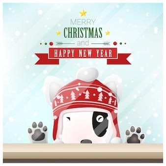 Prettige kerstdagen en gelukkig nieuwjaar achtergrond met hond