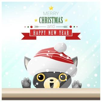 Prettige kerstdagen en gelukkig nieuwjaar achtergrond met kat