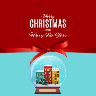 Prettige kerstdagen en gelukkig nieuwjaar achtergrond met kleine stad in retro stijl