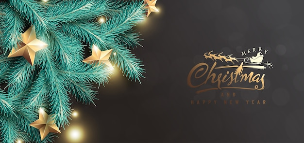 Prettige kerstdagen en gelukkig nieuwjaar achtergrond met realistische boomtakken en gouden sterren.