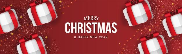 Prettige kerstdagen en gelukkig nieuwjaar achtergrond met realistische geschenken samenstelling
