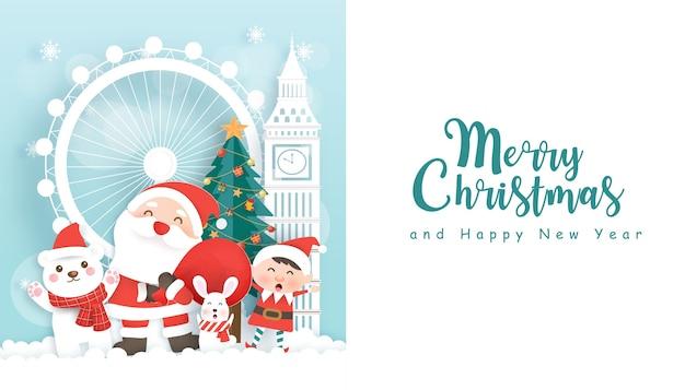 Prettige kerstdagen en gelukkig nieuwjaar achtergrond met schattige kerstman en vrienden in papier gesneden stijl.