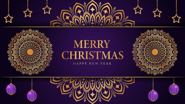 Prettige kerstdagen en gelukkig nieuwjaar achtergrond met sier mandala arabesk ontwerp