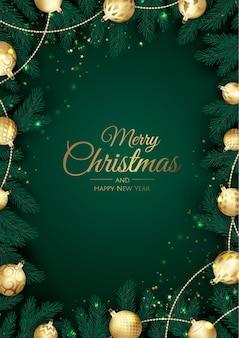 Prettige kerstdagen en gelukkig nieuwjaar achtergrond met sneeuwvlokken en ballen