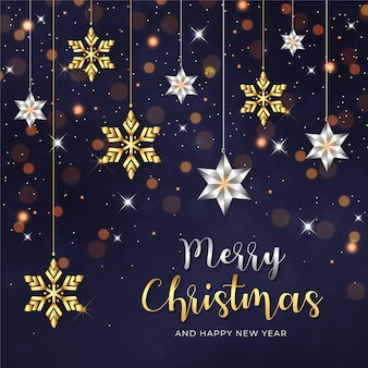 Prettige kerstdagen en gelukkig nieuwjaar achtergrond met versierde sneeuwvlok en ster ornamenten