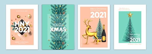 Prettige kerstdagen en gelukkig nieuwjaar achtergronden, wenskaarten, posters, vakantiecovers. ontwerp met realistische oudejaarsavond en kerstversieringen. vector illustratie xmas feestelijke sjablonen
