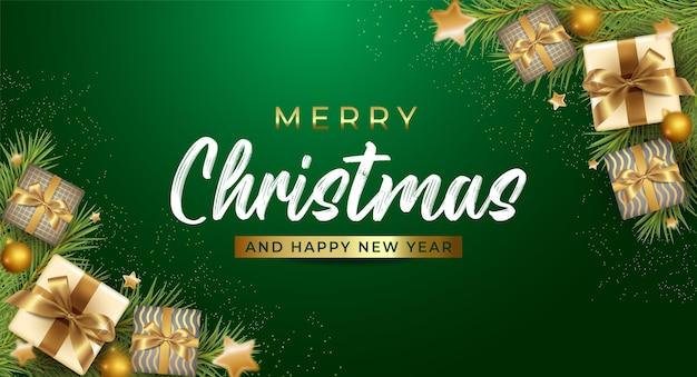Prettige kerstdagen en gelukkig nieuwjaar achtergrondsjabloon
