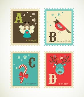 Prettige kerstdagen en gelukkig nieuwjaar alfabet. sjablooncollectie voor wenskaart, spandoek of poster