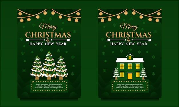 Prettige kerstdagen en gelukkig nieuwjaar banner, flyer, poster sjabloon met kerstboom
