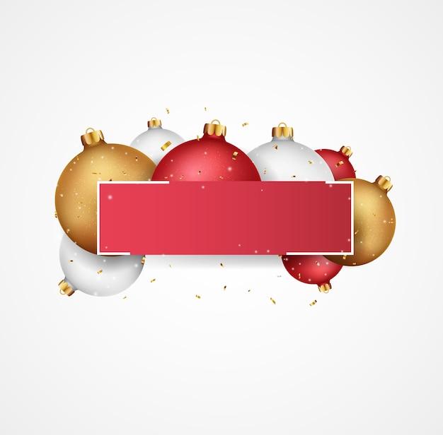 Prettige kerstdagen en gelukkig nieuwjaar banner met ballen en confetti
