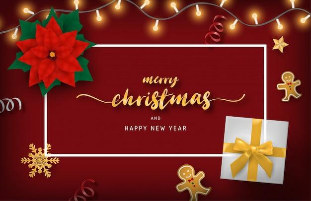 Prettige kerstdagen en gelukkig nieuwjaar banner met decoratie van bovenaanzicht.
