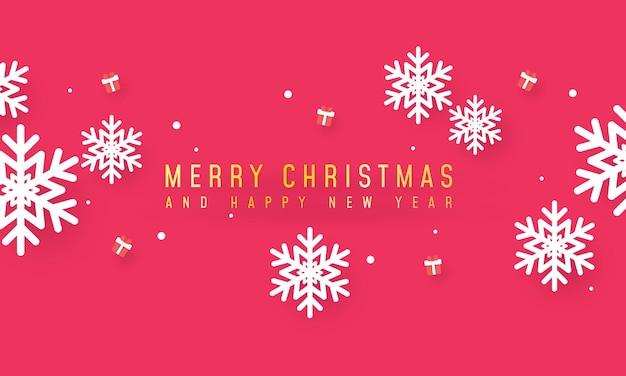 Prettige kerstdagen en gelukkig nieuwjaar banner met geschenken en sneeuwvlokken