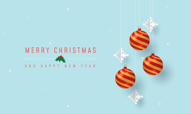 Prettige kerstdagen en gelukkig nieuwjaar banner met kerst ornamenten en sneeuwvlokken