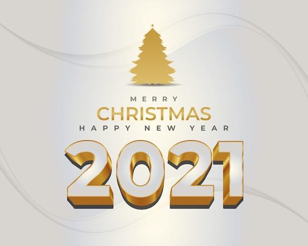 Prettige kerstdagen en gelukkig nieuwjaar banner met witte en gouden cijfers en gouden pijnboom