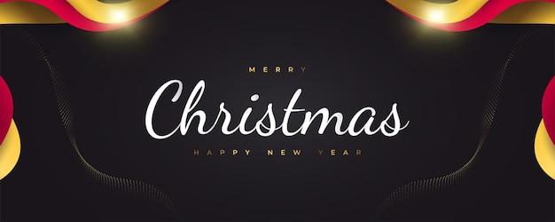 Prettige kerstdagen en gelukkig nieuwjaar banner of poster design. elegante kerstwenskaart in zwart, rood en goud