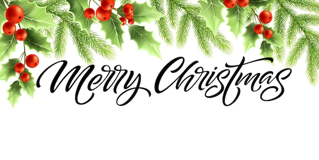 Prettige kerstdagen en gelukkig nieuwjaar bannerontwerp. hulstboomtakken met rode bessen en spartakjes. merry christmas hand belettering. wenskaartsjabloon. kleur geïsoleerde vector
