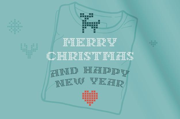 Prettige kerstdagen en gelukkig nieuwjaar belettering is gemaakt van dikke ronde breisels