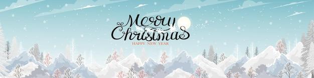 Prettige kerstdagen en gelukkig nieuwjaar belettering kalligrafie met de kerstman en rendieren op blauwe lucht