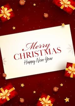 Prettige kerstdagen en gelukkig nieuwjaar berichtkaart met bovenaanzicht van realistische geschenkdozen, gouden sterren en kerstballen op rode achtergrond.