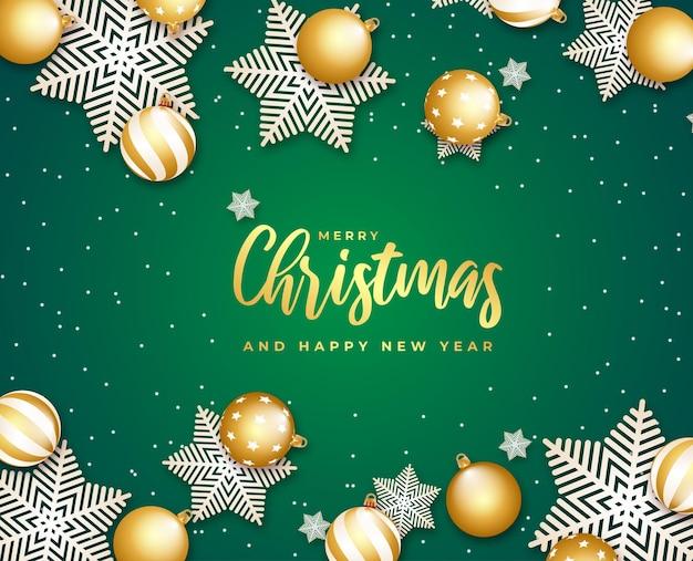 Prettige kerstdagen en gelukkig nieuwjaar cadeaukaart kleine sneeuwvlokken en bal sneeuwvlokken vector