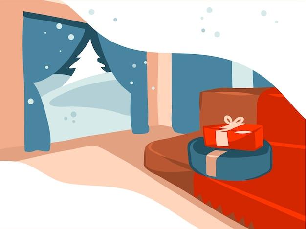 Prettige kerstdagen en gelukkig nieuwjaar cartoon afbeelding