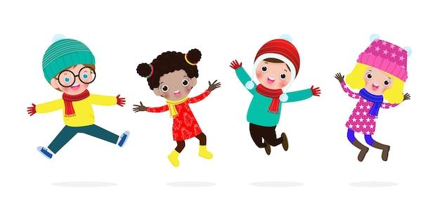 Prettige kerstdagen en gelukkig nieuwjaar collectie van kinderen springen in winterkostuum xmas vakantie feest
