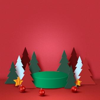 Prettige kerstdagen en gelukkig nieuwjaar concept groen podium versierd met kerstboom kerst bal en sterren op rode achtergrond papier art