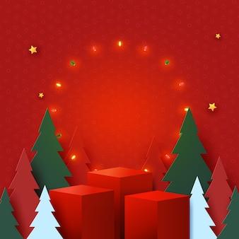 Prettige kerstdagen en gelukkig nieuwjaar concept rood podium versierd met kerstboom licht en sterren op rode achtergrond papier art