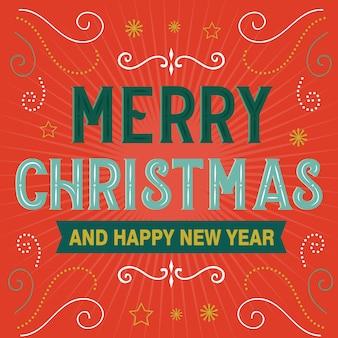Prettige kerstdagen en gelukkig nieuwjaar decoratieve brief
