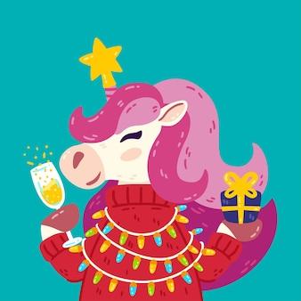 Prettige kerstdagen en gelukkig nieuwjaar eenhoorn met sterglas champagne trui en cadeau